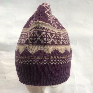 Mukluks sweater knit winter hat snow flakes purple